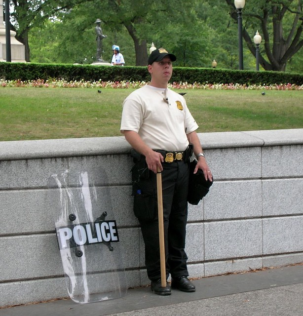 Honor Guard near White House  Antiwar March Sept 2005