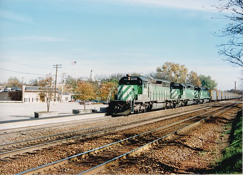 Westbound Burlington Northern Railroad unit coal train. Hindsdale Illinois USA. October 1989. by Eddie from Chicago