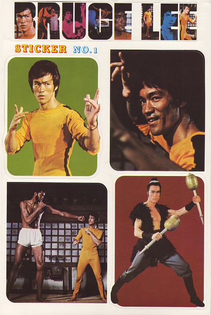 Bruce Lee stickers - sheet 1 of 6 - 1970's