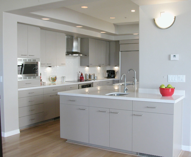 The Perfect Kitchen  Laminate cabinets and white engineered