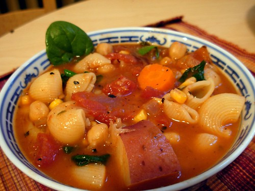 Garbanzo Bean, Potato & Pasta Soup