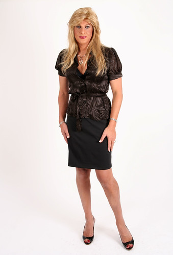Silk shirt & pencil skirt by Gina Stone