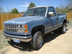 sport utility vehicle(0.0), chevrolet silverado(0.0), luxury vehicle(0.0), chevrolet(1.0), automobile(1.0), commercial vehicle(1.0), pickup truck(1.0), vehicle(1.0), truck(1.0), chevrolet c/k(1.0), bumper(1.0), land vehicle(1.0),