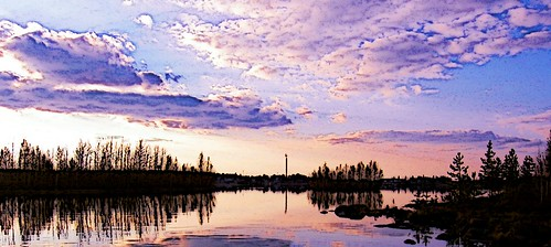 sunset sky lake reflection water landscape