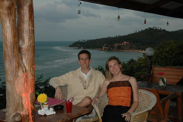 Audrey and Dan having Drinks by the Beach - Koh Pha Ngan, Thailand