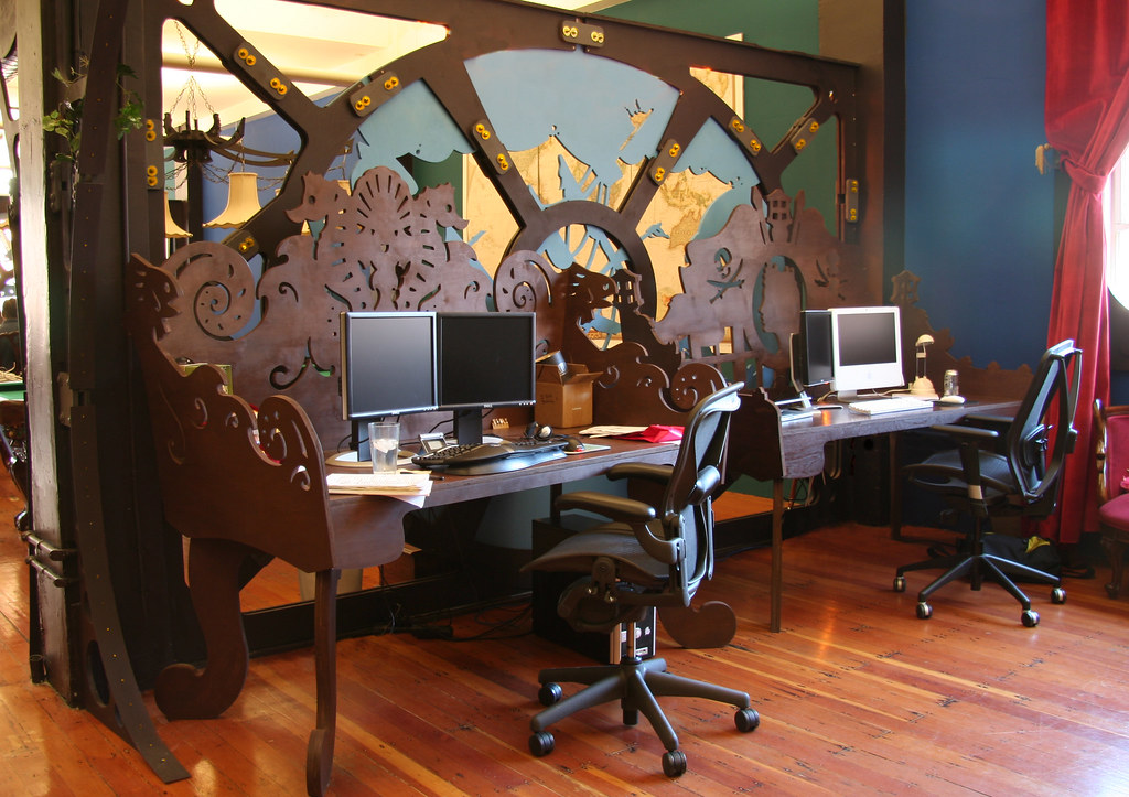 Steampunk office interior design and fabrication because for Home office interior design