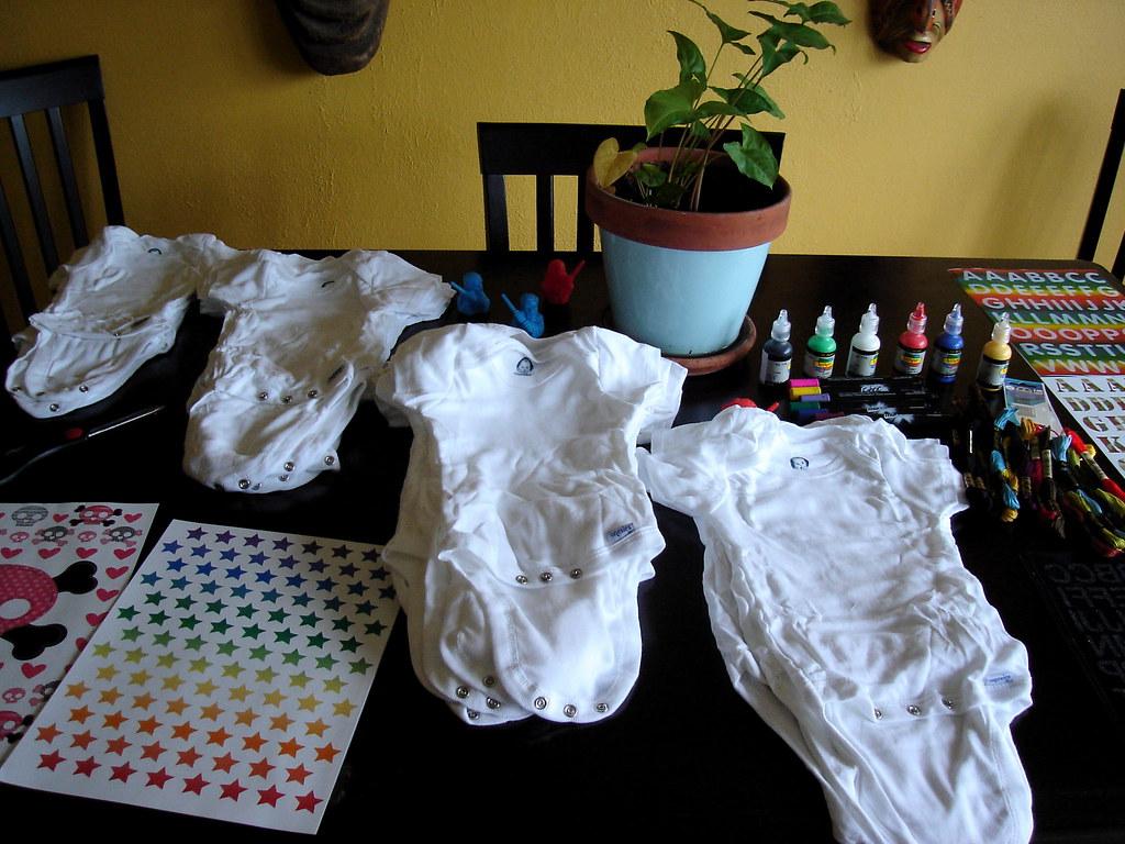 Baby Shower Decorations Using Onesies ~ Onesie craft station flickr photo sharing