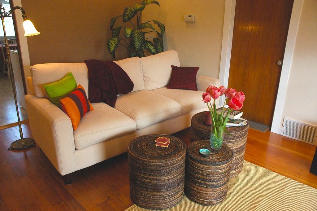 Peggy's Zen living room makeover, white sofa, pink tulips ...