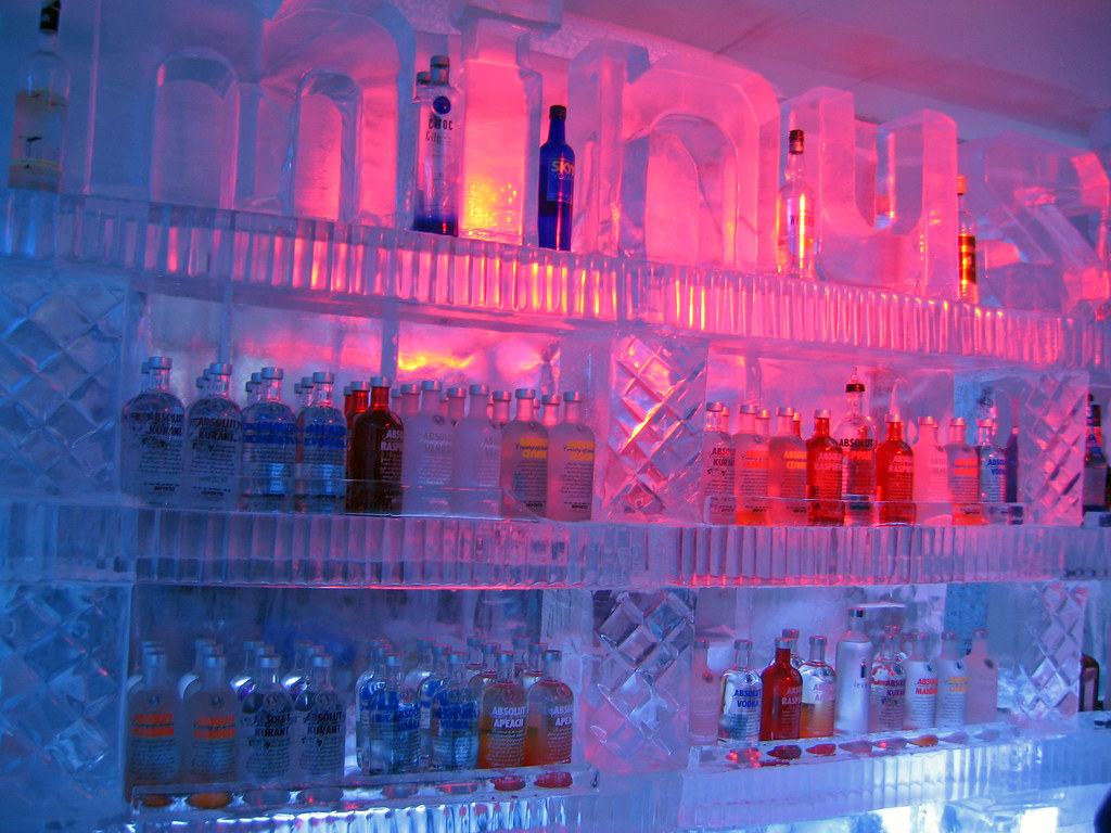 Vodka in the Minus 5 ice bar