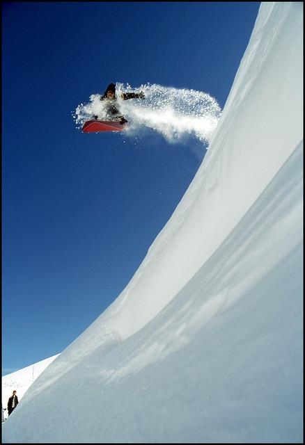 Snowboarding in Tignes, France