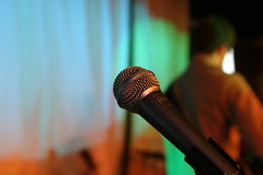 microphone, light, green, close-up, audio equipment,