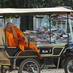 Monk in a Tuk-tuk - Angkor, Cambodia