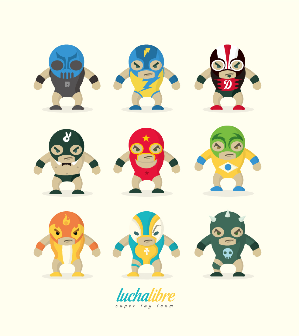 Cute Character Design Illustrator : Lucha libre super tag team a photo on flickriver
