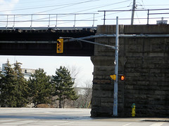 March 26, 2007 - 13:41 - A rare moment, in the middle of the afternoon, where this intersection has no traffic (people or cars). Usually there are people walking through, cars or buses driving through, even even trains rolling through.  Made me think about how quiet Guelph is.