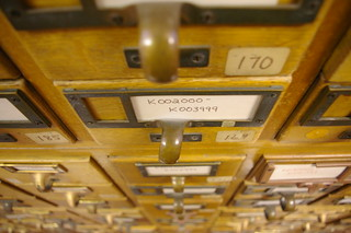 Looking down at the Card Catalogs
