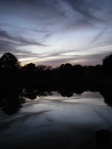 sunset sky lake water night
