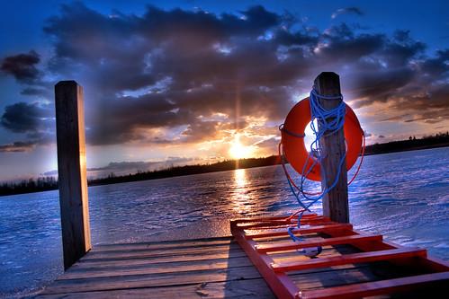 sunset orange mi dock hdr lifesaver lakeorion digitalrebelxti lakesixteen