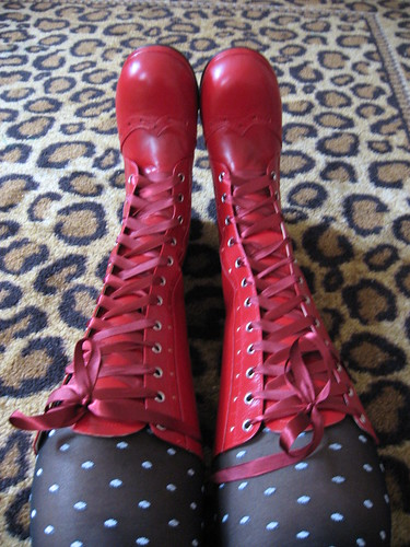 Front view of Rose Chocolat boots