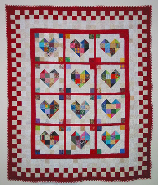 Free Quilt Patterns With Hearts : Scrappy Heart Quilt - Free Pattern Flickr - Photo Sharing!