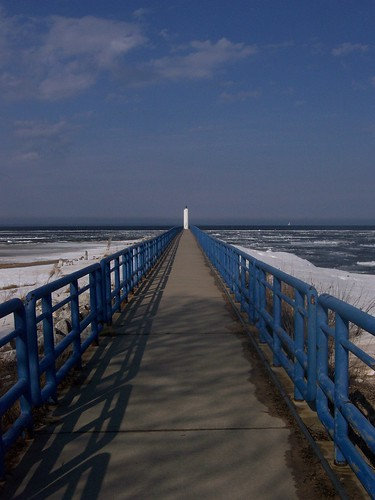 blue sky lighthouse white lake water river pier crib huron cheboygan