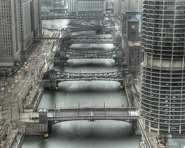 Chicago Moving Bridges over the Chicago River