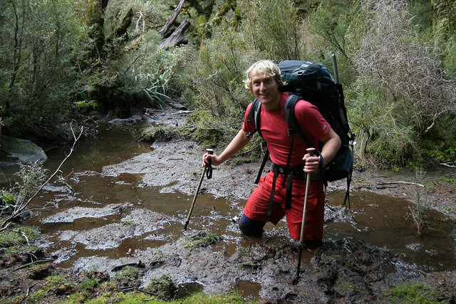 Me stuck in the Dusky Track mud, Fiordland National Park, New Zealand