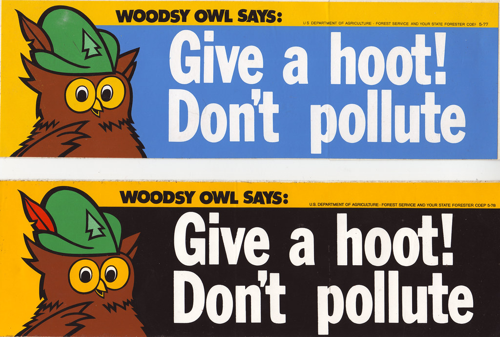 Woodsy owl bumper stickers 1977 and 1978