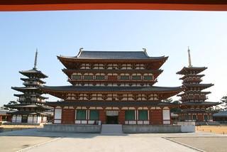 Image of Yakushiji temple. new old red japan geotagged temple pagoda perspective nara yakushiji geo:lat=34669186 geo:lon=135784294