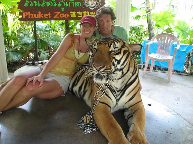 US and the tiger at the Phuket Zoo  Bangkok and Phuket  By: labrandt  Flic...