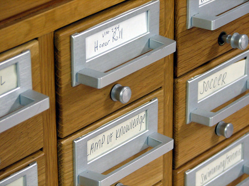 Recycled library card catalog