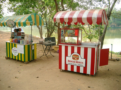 Snack stalls near Karaweik, Rangoon