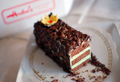 Andre's Confiserie Pistachio Buttercream-Layered Chocolate Cake