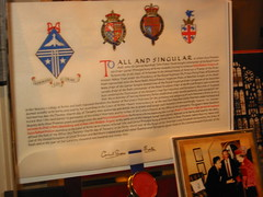 Wider, blurrier photo of the letters patent granting Helen Walton her Honorary Arms