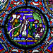 Petrus, Andreas, Jesus, Nathanael, Philipp, medieval stained glass detail, Canterbury Cathedral