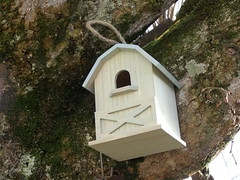 outdoor structure(0.0), building(0.0), outhouse(0.0), chapel(0.0), hut(1.0), birdhouse(1.0), bird feeder(1.0),