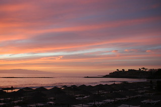 Image of Playa de Fañabe near Playa de las Américas. pink sunset sea beach wonderful evening shoreline tenerife ubuntu canaryislands hisgett fanabebeach
