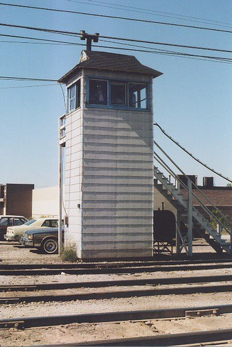 Crossing gate operators tower. GTW Elsdon Yard. Chicago Illinois USA. October 1983. by Eddie from Chicago