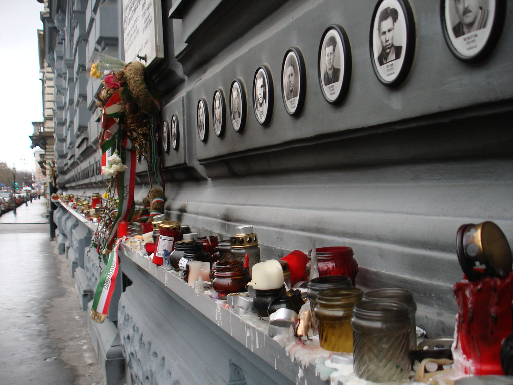 Memorial outside House of Terror, Budapest
