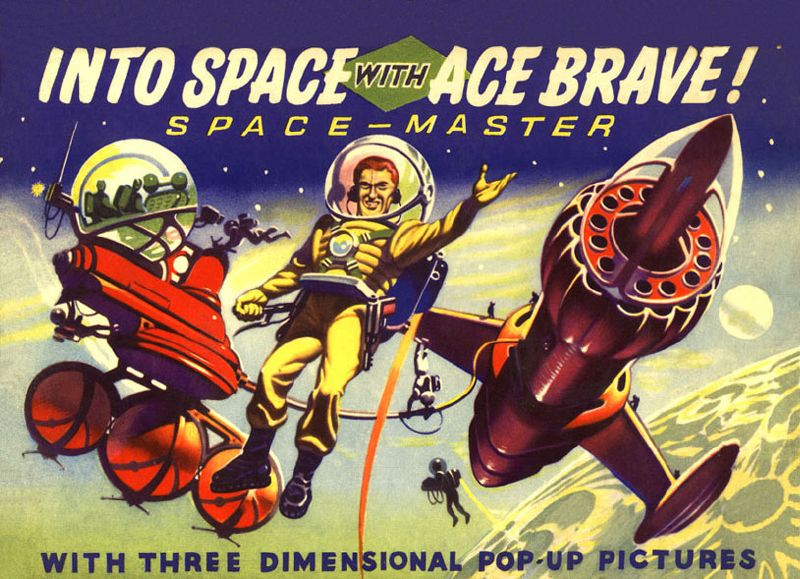 Into Space With Ace Brave - Pop-Up book cover illustration by Ron Turner. 1953