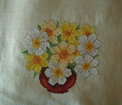 art, pattern, textile, needlework, flower, yellow, embroidery, cross-stitch,
