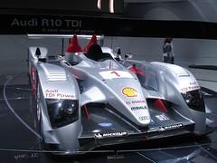 formula one(0.0), race track(0.0), supercar(0.0), automobile(1.0), audi r10 tdi(1.0), vehicle(1.0), automotive design(1.0), open-wheel car(1.0), auto show(1.0), sports prototype(1.0), formula one car(1.0), land vehicle(1.0), sports car(1.0),