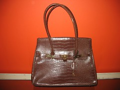 Brown Faux Croc Business Bag