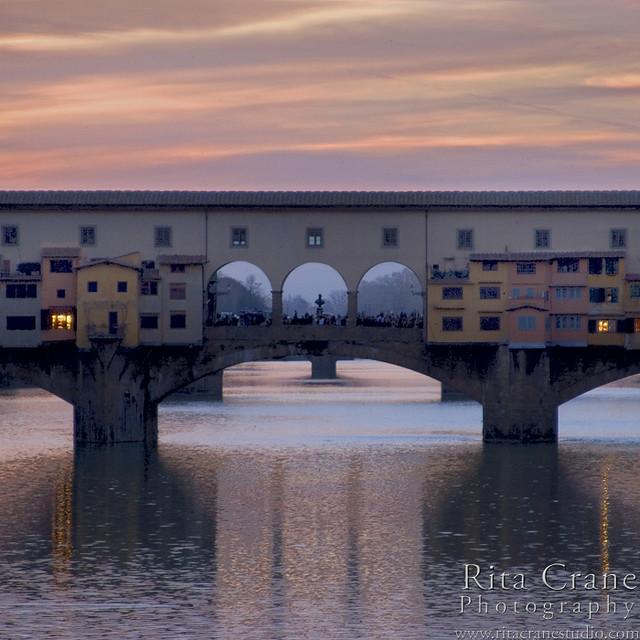 Rita Crane Photography:  Reflections / Florence / Twilight / Ponte Vecchio, River Arno, Firenze