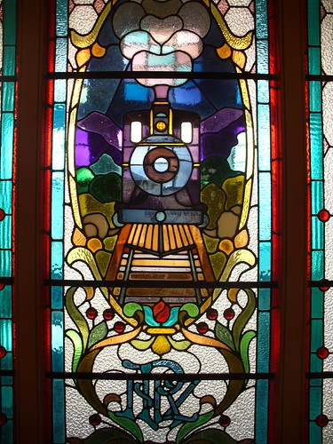 Stained glass train, Dunedin Railway Station