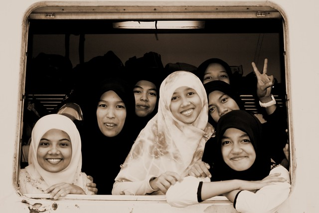 Muslim Girls On Train To Southern Thailand.