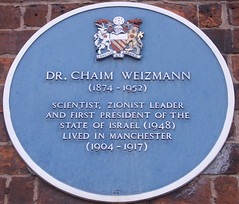 Photo of Chaim Weizmann blue plaque