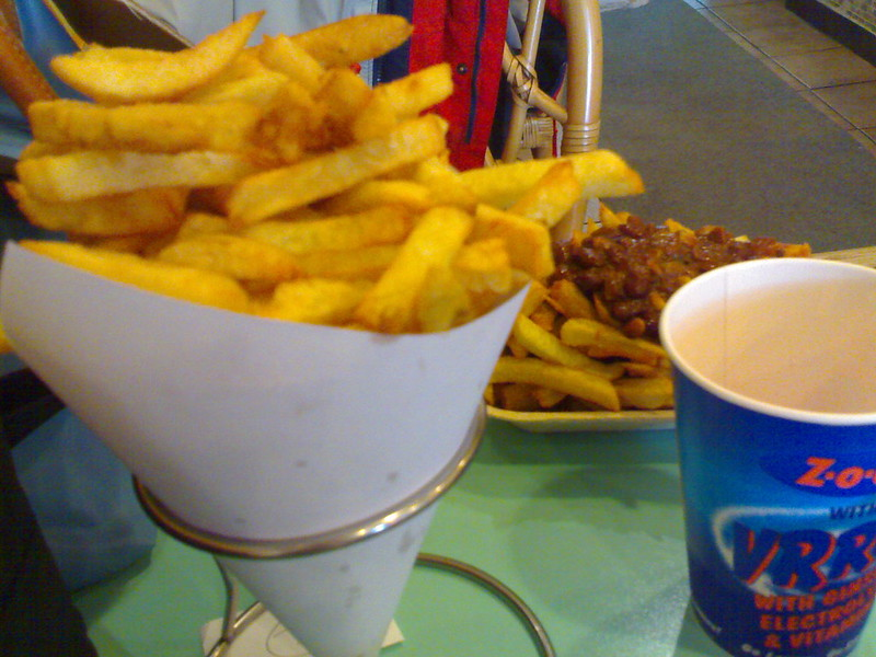 Fries and Chili Fries at Belgian Fries