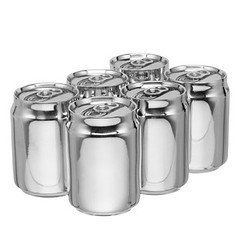glass bottle(0.0), drinkware(0.0), bottle(0.0), aluminum can(1.0), silver(1.0),