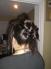 brown hair(0.0), black hair(1.0), hairstyle(1.0), chignon(1.0), bun(1.0), hair(1.0),