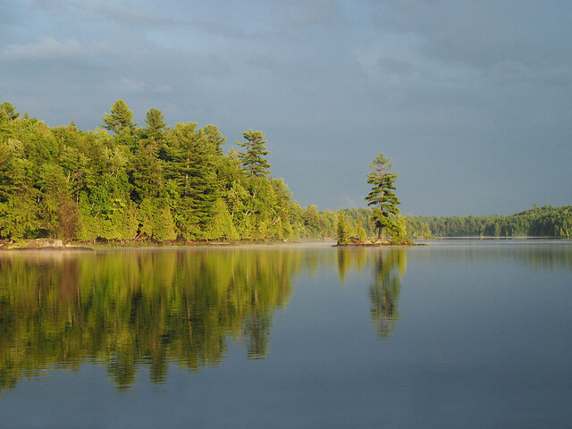 Trees reflecting in the water at Silent Lake